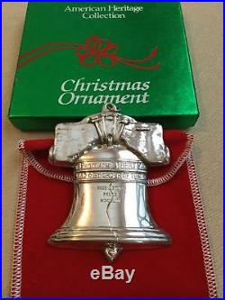 1988 Sterling Silver Gorham American Heritage Liberty Bell Ornament Box Pouch A