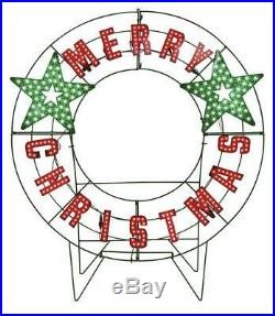 40 LED Lighted Merry Christmas Holiday Message Wreath Yard Decor