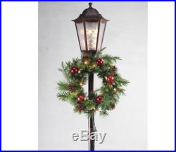 5' Tall Prelit Decorated Wreath Lamp Post Pot Outdoor Lawn Porch Christmas Decor