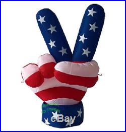 6' Air Blown Self-Inflatable Lighted Patriotic USA Peace Hand