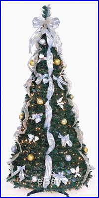 6 Ft Pop Up Decorated & Pre Lit Collapsible Christmas Tree 350 Lights Open Box