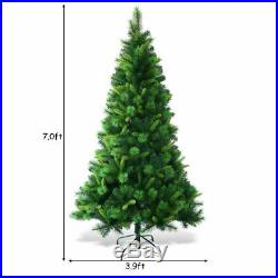 7Ft Pre-Lit PVC Artificial Christmas Tree Hinged withMulticolor LED Lights & Stand
