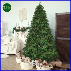 7.5Ft Pre-Lit Artificial Christmas Tree Decor with 540 LED Lights & Pine Cones