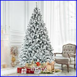 7.5 Ft Snow Flocked Hinged Artificial Christmas Tree Home & Garden Holiday Decor