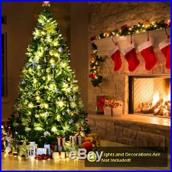 9ft Hinged Artificial Christmas Tree Unlit Douglas Full Fir Tree with Metal Stand