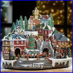 Animated LED Winter Village Scene with Rotating Train and Music 14.5 (37 cm)