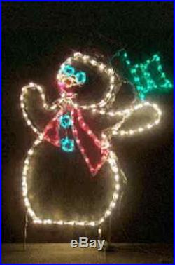 Animated SM Winter Snowman Hat Christmas LED Lighted Decoration Steel Wireframe