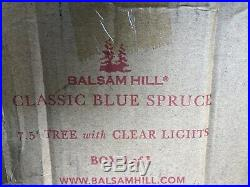BALSAM HILL CLASSIC BLUE SPRUCE 7.5' CHRISTMAS TREE with CLEAR LIGHTS
