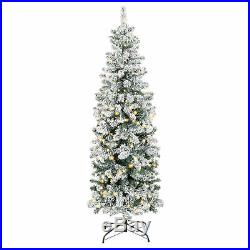 BCP 6ft Pre-Lit Artificial Christmas Pencil Tree with Snow Flocked Tips