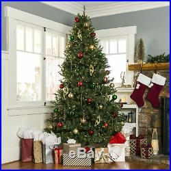 BCP 7.5ft Pre-Lit Hinged Douglas Artificial Christmas Tree with 700 Lights, Stand