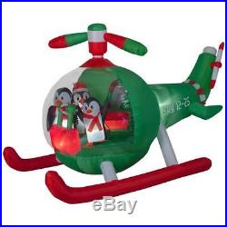 Christmas Santa Animated Penguin Helicopter Chopper Airblown Inflatable 9 Ft