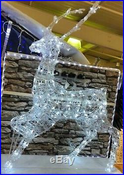 Christmas Xmas Decorations Outdoor Pre Lit LED White Lights Rattan Stag Reindeer