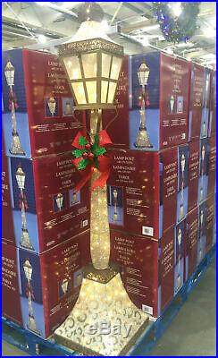 Christmas decoration 6ft Glitter Lamp Post Bow Indoor/Outdoor 120 LED Light UK