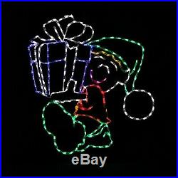 Elf with Gift LED Christmas light display outdoor metal wireframe decoration