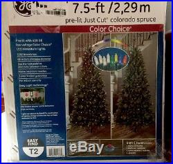 GE 7.5 ft. Pre-Lit LED Just Cut Colorado Spruce Artificial Tree 01667HD Used | Christmas Decor World