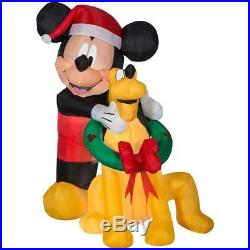 Gemmy Disney 90th Christmas 5 ft Mickey Mouse & Pluto Light Up Inflatable NIB