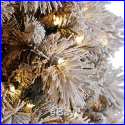 Home Heritage Snowdrift Spruce 7.5 Ft Flocked Tree with White Lights (For Parts)