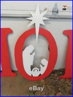 Hope Sign with Nativity Scene Large Wood Outdoor Decoration, Hope Sign