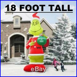 Huge 18 Ft Christmas Grinch Lighted Airblown Inflatable Yard Decor
