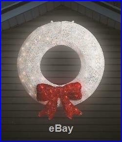 Large 36 Lighted White Christmas Wreath Sculpture Outdoor Christmas Decor Yard