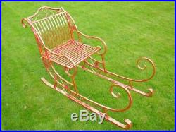 Large Christmas Santa's Sleigh Metal Freestanding In Red With Gold Leaf Finish