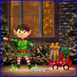 Lighted Santa's Elf With Wagon Of Gifts Sculpture Outdoor Christmas Decor Yard