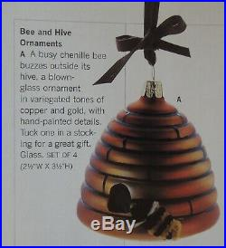 MIB SET OF 4 Martha Stewart By Mail Chenille Bee and Hive Christmas Ornaments