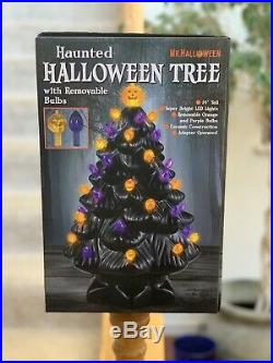 Mr. Halloween Lighted Black Ceramic Tree 14 SOLD OUT