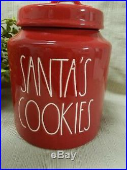NEW 2018 Rae Dunn by Magenta Holiday SANTA'S COOKIES Red Canister (VHTF)