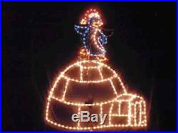 North Pole Igloo Penguin Outdoor Holiday LED Lighted Decoration Steel Wireframe