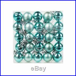 Pack of 24 Mini Miniature Small Shiny & Matte Christmas Tree Baubles Turquoise