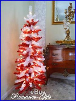 Santa Claus Christmas Candy Cane Tree 5 ft Prelit Peppermint RED&White Branches