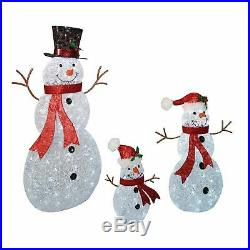 Set of 3 Frosty Snowman Twinkling LED Lights Christmas Outdoor Yard Decoration