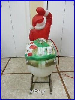 Vintage Santa Claus in Sled & Reindeer Lighted Christmas Blow Mold by Empire 36